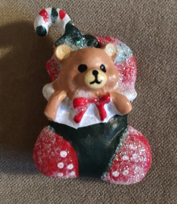 Vintage resin sparkly bear in a stocking Christmas Pin -comes giftboxed & ribboned