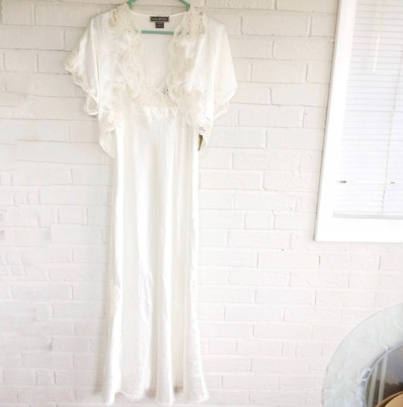 Halston White Negligee Bridal Peignoir Set Gown & Jacket size M