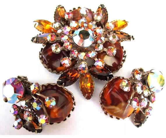Root Beer & Amber Rhinestone Vintage Pin Earring Set, trending color, signed JUDY LEE vintage glamour jewelry