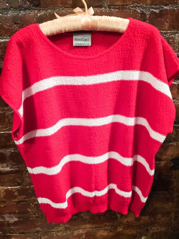 Vintage 80s Renaissance Red & White striped sweater TOP unworn M/L one size oversized, cool