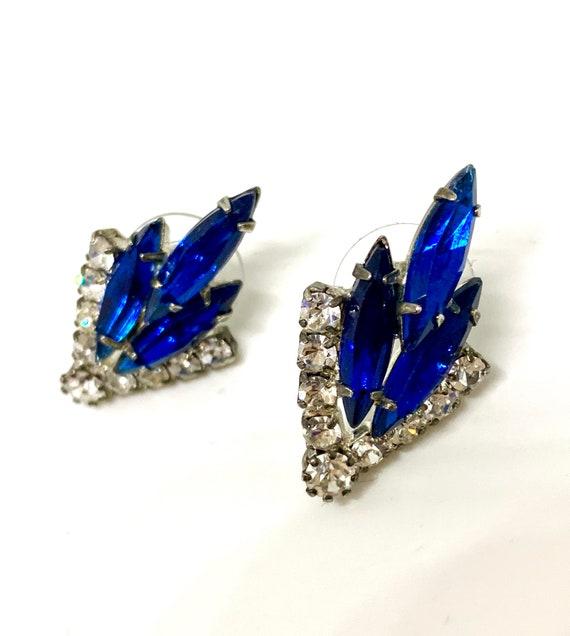 Juliana Style Royal Blue Navettes & Ice Rhinestone Earrings, Vintage Hollywood Regency Cocktail Jewelry