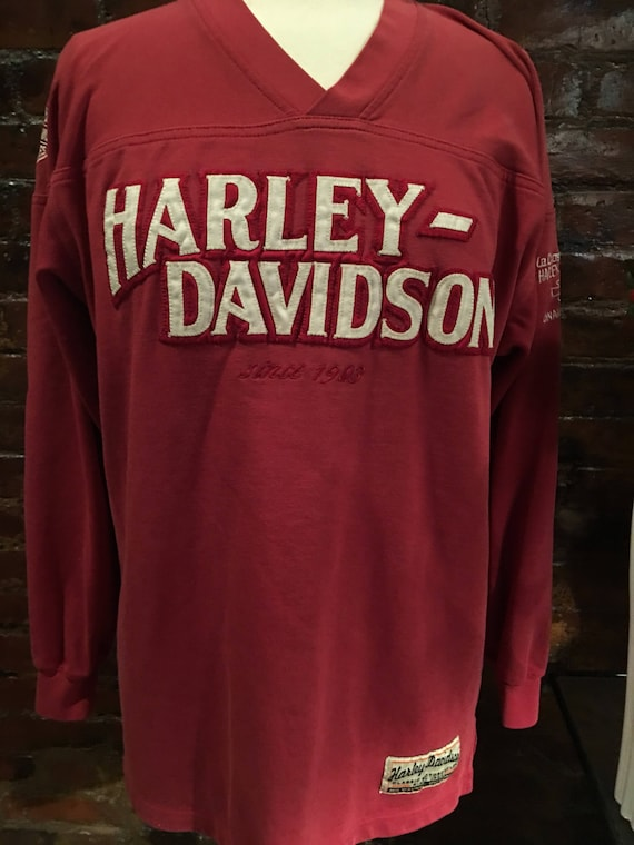 Vintage Harley Davidson V Neck Drop Shoulder Sports Styled Jersey Faded Deep Red VTG size Large more like a Medium