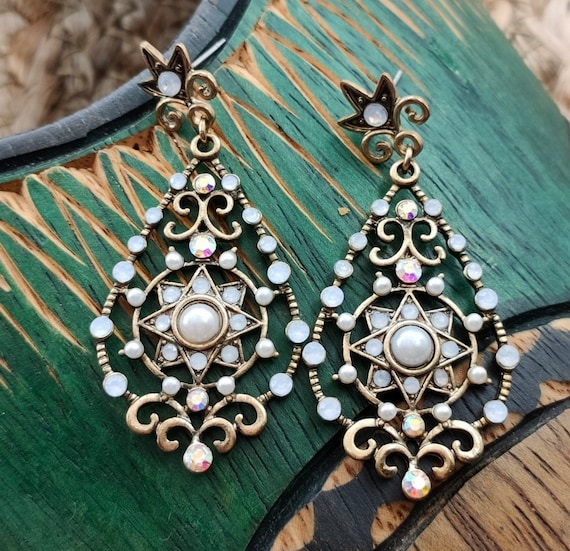 Vintage Bali Style Ornate Dangles, Brassy Scrollwork w/ Gray Pearls & AB Crystal Statement Earrings, 90s Glamour Grunge Gypsy Bling