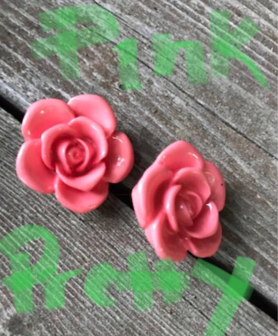 Pretty Vintage Pink Resin Rose Post Earrings