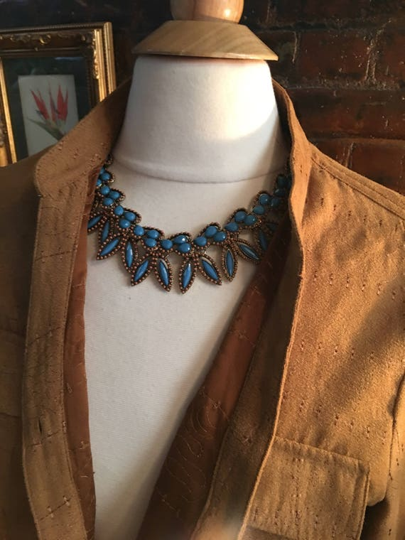 Boho Gypsy Cowgirl 90's Modern Southwestern Statement Necklace, Stunning Coral & Turquoise Blue Lucite Beaded Resort Jewelry Collar Necklace