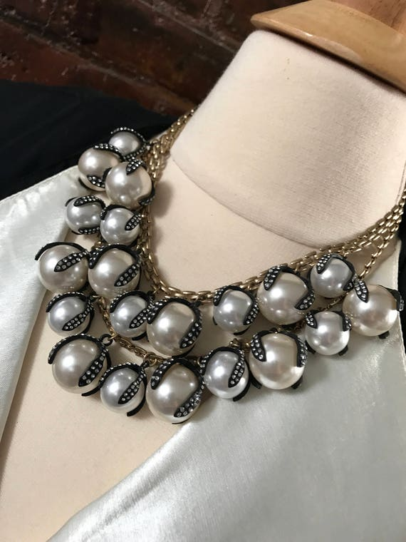 Dramatic Collar Necklace of Oversized Pearls  Set in Rhinestoned Japanned Black Drippy Claw like Settings