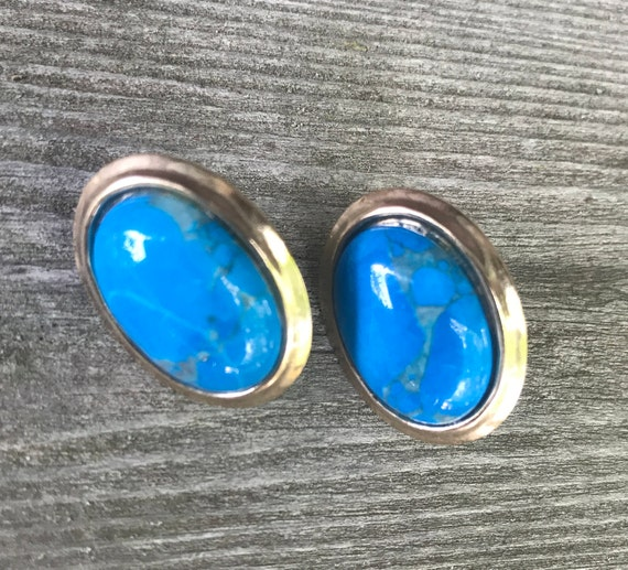 Bright Beautiful Oval Cerulean Cabochons framed in Goldtone Post Earrings