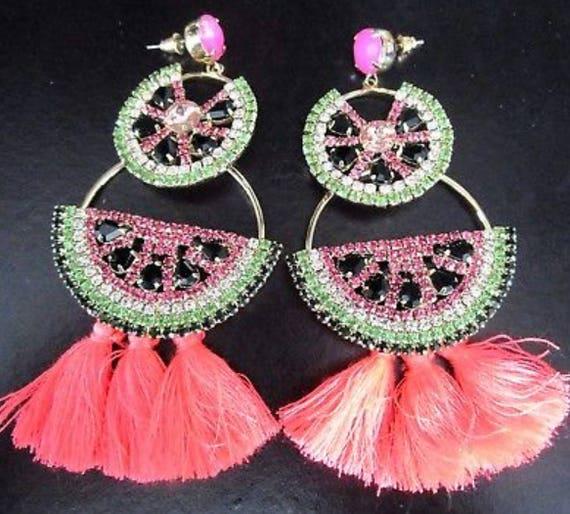 HUGE Pink Watermelon Rhinestone Tassel Statement Earrings, Tropical Party Time!