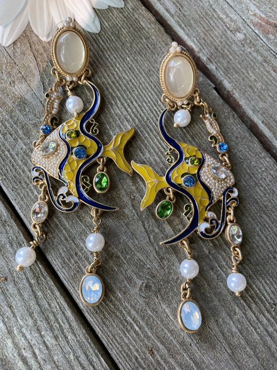 90s Glamour Jewelry Tropical Fish Chandelier Dangles, Enamel Moonstone & Crystal Angel Fish High Fashion Runway Statement Earrings