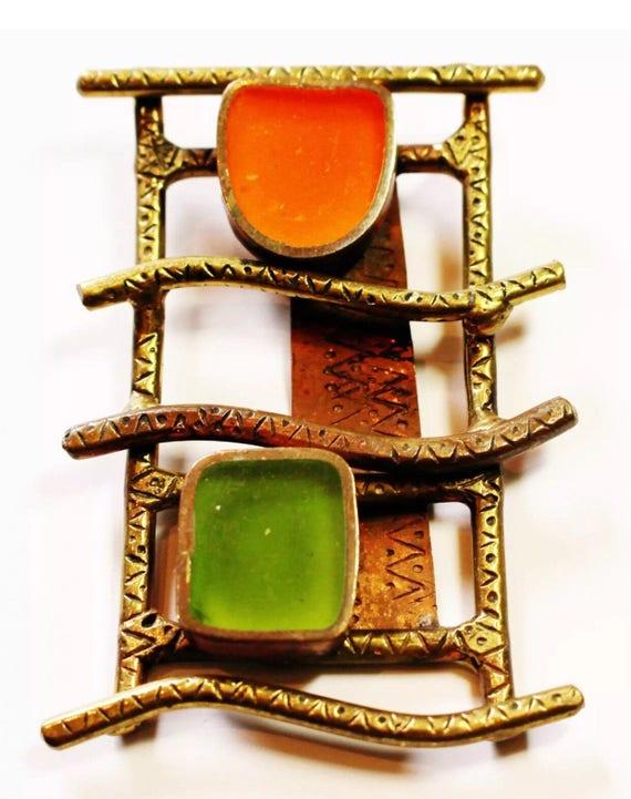 Large Bronze Mid Century Brutalist Modernist Orange & Green Pendant