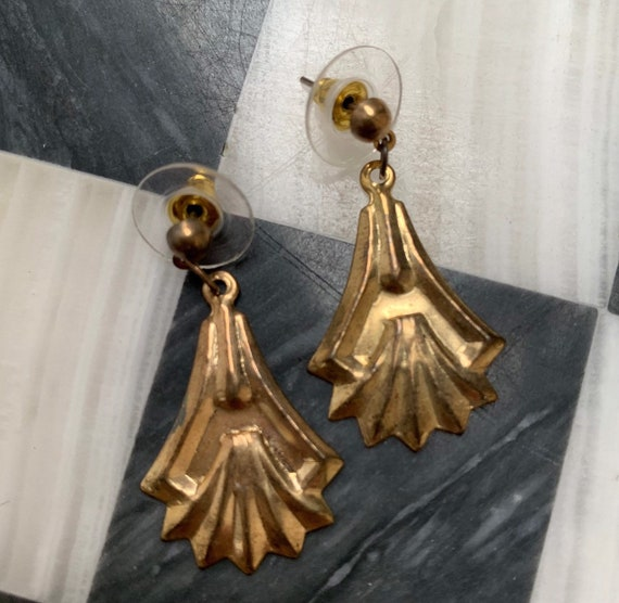 Gothic Art Nouveau Pressed Goldtone Dangle Earrings, Dainty and Light Weight, sweet little treasures