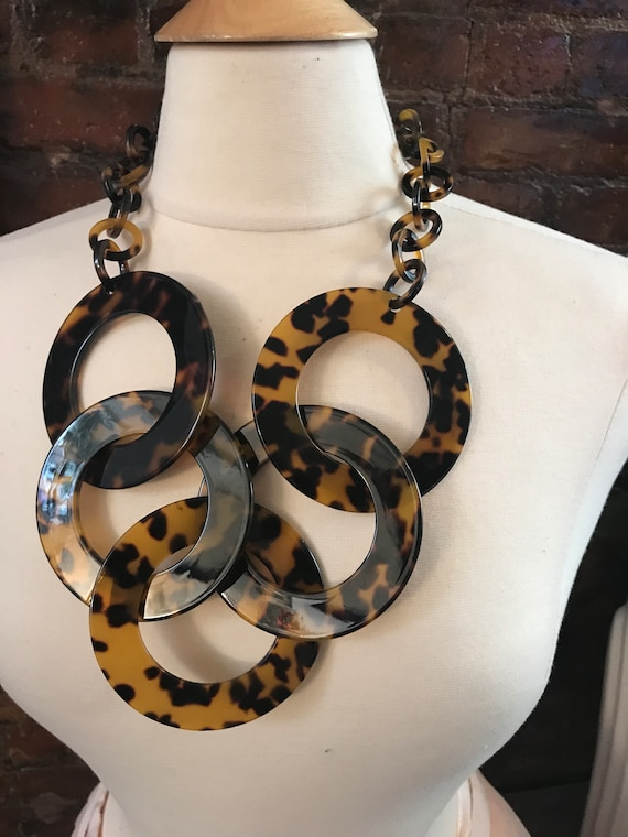 Huge Faux Tortoise Shell Hoop Statement Necklace Fashion Jewelry curated by Marta Michaud