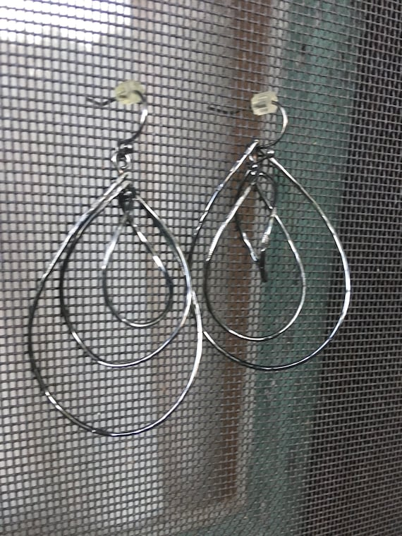 Triple Spiral Hoop Dangles Gunmetal Silvertone Big 90s Bling Teardrop Earrings