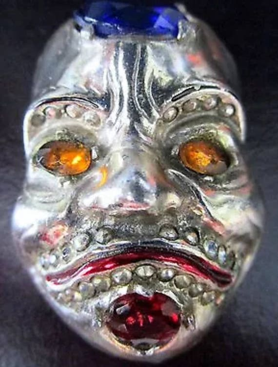 Dramatic Unusual Vintage Silvertone Enamel Mask with Large Rhinestone Red Yellow & Blue Jewels Brooch Pin