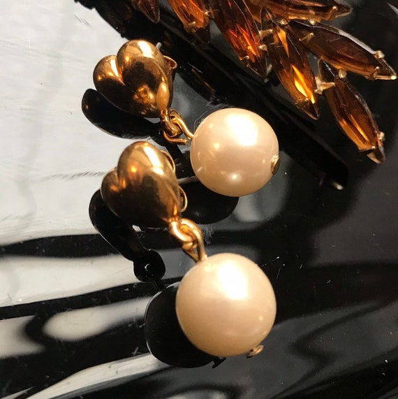 Vintage Avon Golden Heart Pearl Dangles Unworn Old Stock, Valentine Be Mine, Valentine's Day Gift