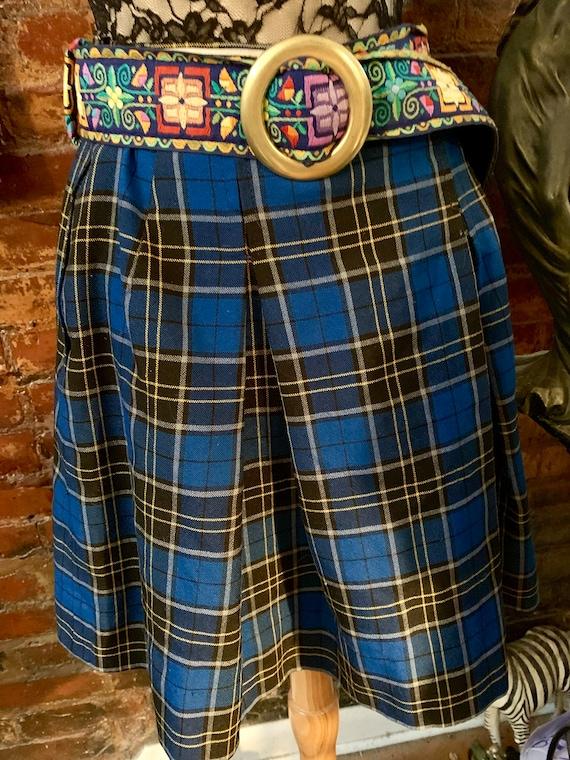 Punky Vintage Royal Blue Plaid Mini Skirt, Uniform Cheering Field Hockey Skirt