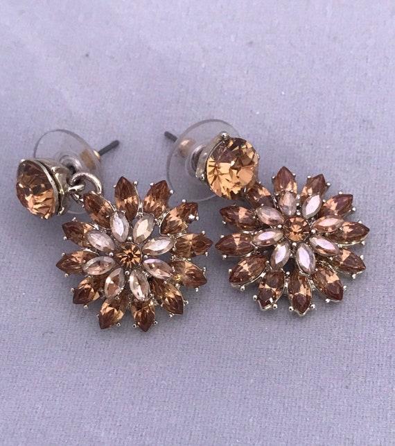 Sunburst Amber Topaz Canary Rhinestone Floral Dangle Earrings