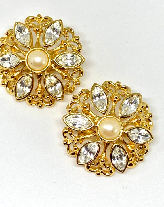 AVON Rhinestone & Pearl Statement Earrings, Hollywood Regency Romantic Floral Glamour Jewelry Clip ons, Perfect for Zoom glamour wedding !