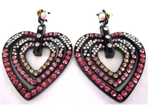 Black Japanned Pink Crystal Heart Hoops, Punky Pop Star MTV generation Dangle Earrings