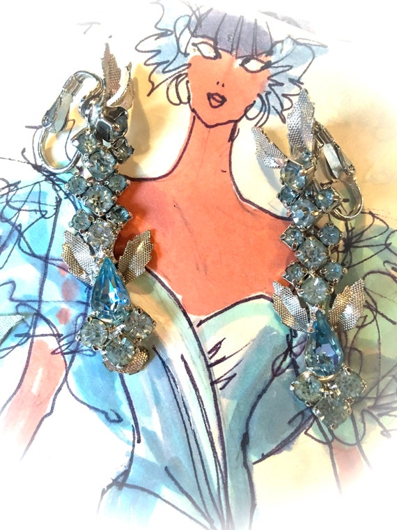 Gorgeous Hollywood Regency Aqua Blue Rhinestone  & Glitzy Silvertone Shimmering Long Dangles, Sexy Mad Men Date Night Statement Earrings