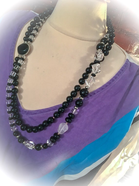 Mint Vintage Chunky Black and Clear Lucite Double Strand Beaded Statement Necklace with Stylish Clasp