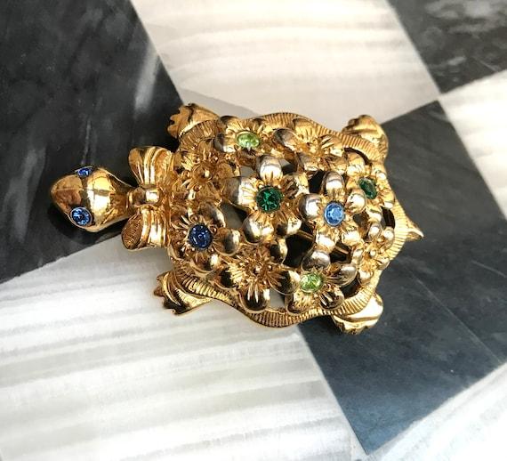 Darling Vintage Floral & Rainbow Gem Turtle Brooch, Now Trending Unisex Lapel Pin