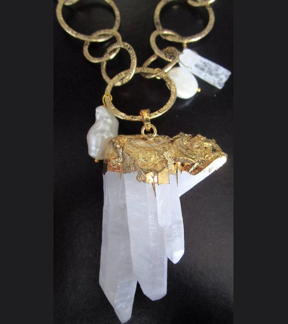 Amazing Genuine Crystal Prism Cluster in Modern Goldtone Setting on Links with Pearls Necklace