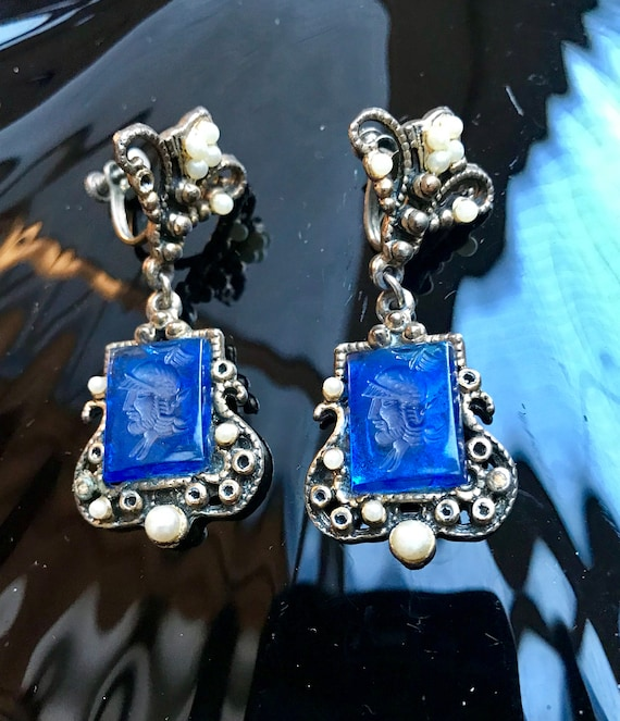 Gorgeous Gothic Shabby Chic Blue Glass Cameo Victorian Revivial Dangle Earrings, 60s Hollywood Regency Blue Intaglio Roman Soldier Screwback