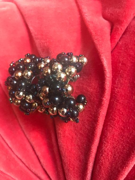 Large Vintage Black & Gold Cluster Beaded Demi Hoop Earrings