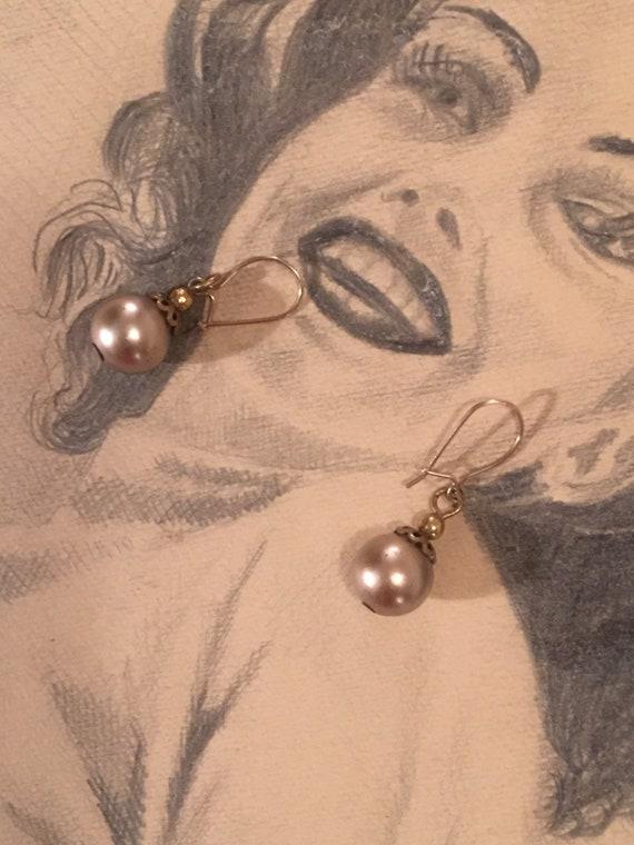 Elegant Vintage Creamy Bronzy Golden Faux Pearl Dangle & Drop Sultry Earrings