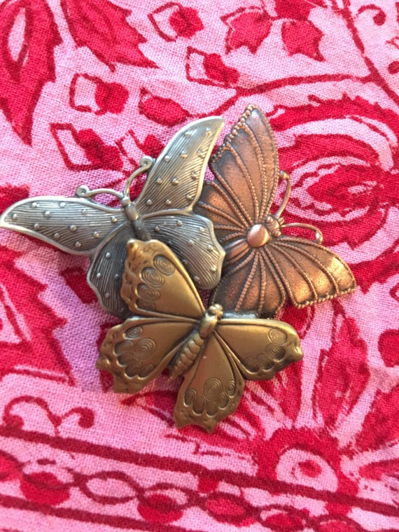 Vintage Pressed Cooper Bronze & Silvertone 3 Butterfly Brooch