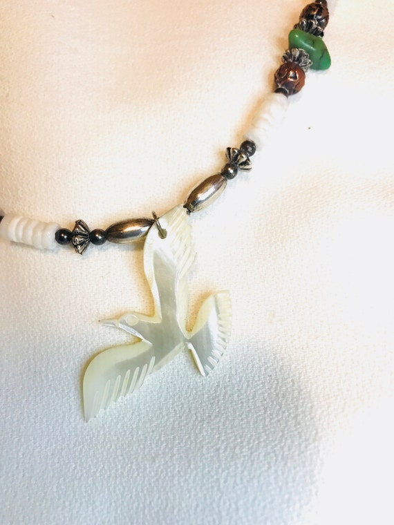 Southwestern Stone Beaded Necklace with Mop Mother of Pearl Seagull Pendant