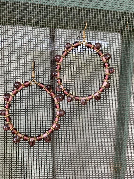 Amethyst Glass Beaded Purple Hoops, Boho Gypsy Glam Vintage Statement Earrings