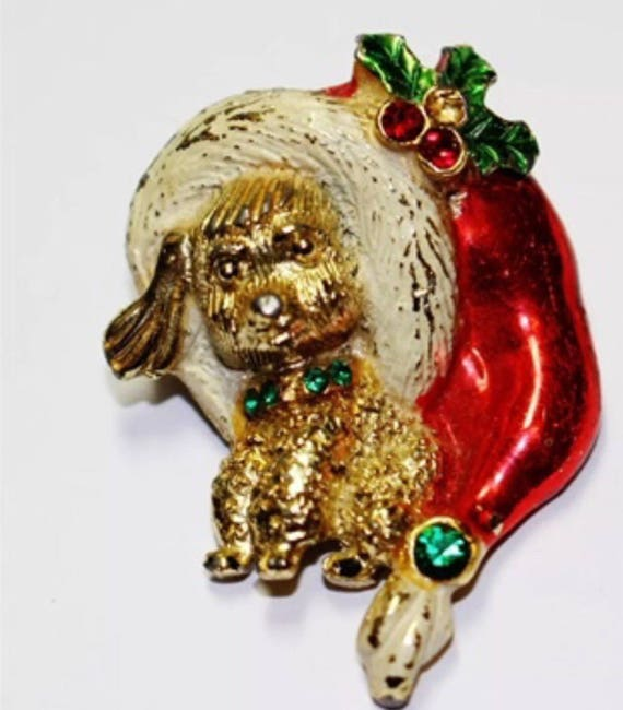 Vintage Beatrix Holiday Christmas Doggie Brooch Pin