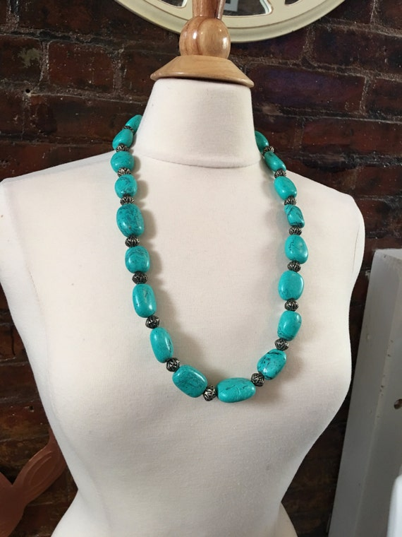 Vintage Chunky Soutwestern  Blue Stone Beaded necklace big statement