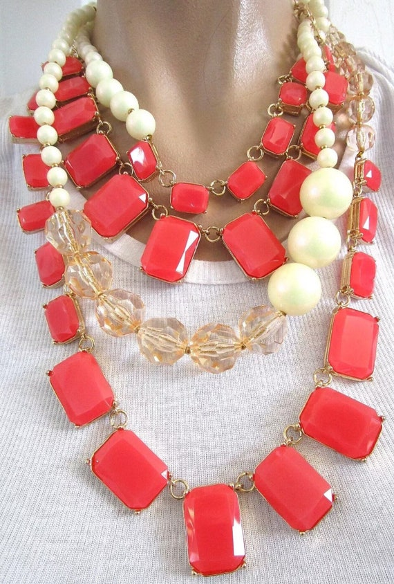 Chunky Coral Lucite Multistrand Statement Necklace with Faux Pearls & Crystal Beads