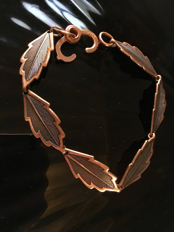 Mid Century Vintage Solid Copper Leaf Link Bracelet With Neat Clasp marked Copper