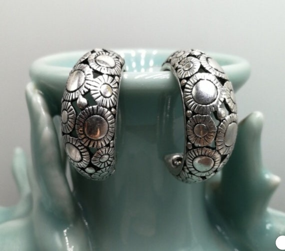 Vintage SouthWestern Hoop Earrings,  Ornate Silver Pewter Nice Quality Signed Chicos, boho gypsy earrings