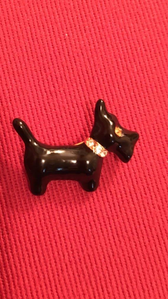 Estate Signed SFJ  Black Enamel Rhinestone Scotty Dog Pin, Scottish Terrier Unisex Lapel Pin