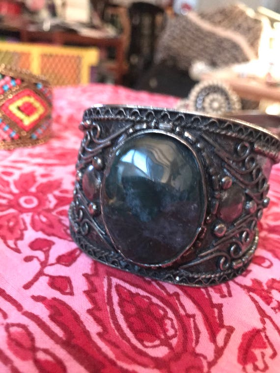 Gorgeous Vintage Polished Dark Green Stone Boho Tribal Gypsy Western Giant Cuff Bracelet