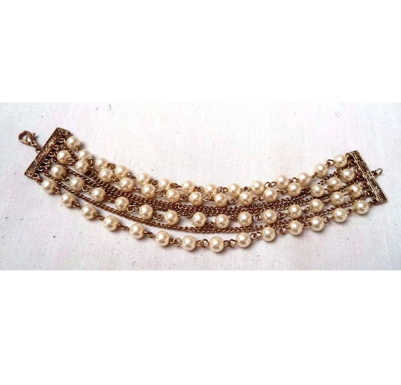 Vintage Golden Chains & Faux Pearl Bracelet Beaded Multi Unsigned Coro Style Cuff