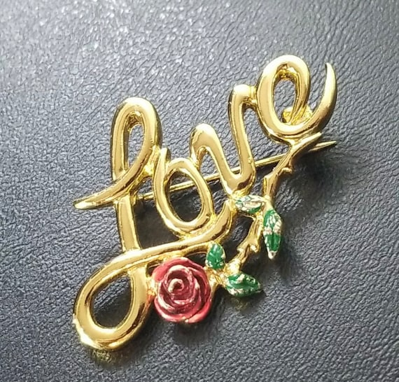 Vintage 70s Love Pin with Red Rose by L Razza, Commitment Pin, Unisex Lapel Pin, Romantic Brooch