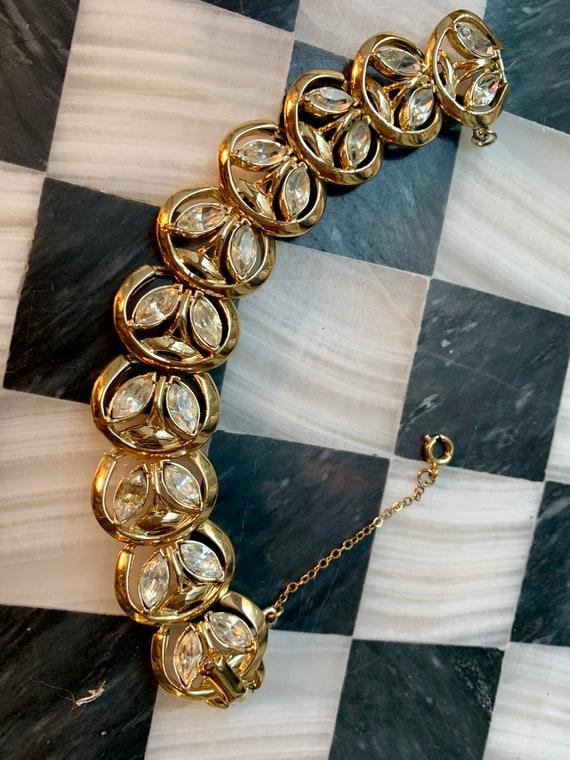 Shiny Goldtone & Ice Rhinestone Bracelet, Sparkling Signed Coro Mid Century Hollywood Regency Glamour Jewelry