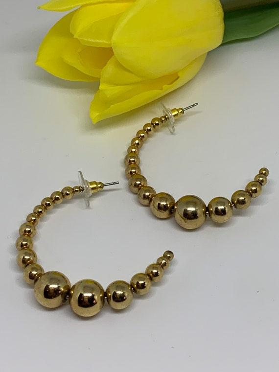 Minimalist Golden Beaded Hoops, Vintage Glamour Statement Earrings