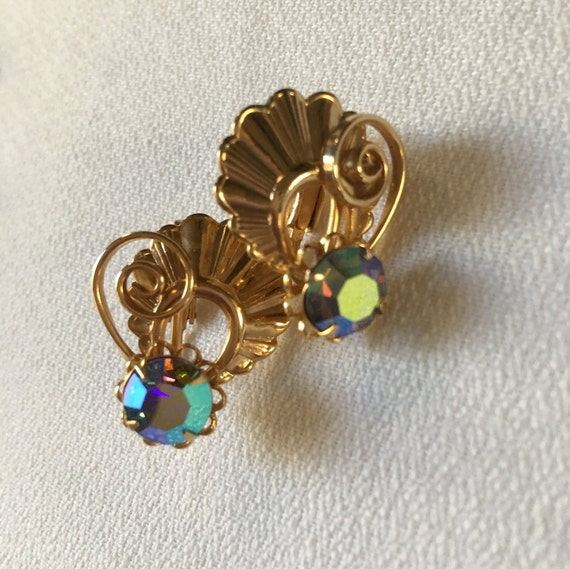 Mermaid Blue Iridescent AB Crystal gem Earrings with Golden Art Deco Scalloped Fan Fair & Swirls, Make a splash in these Vintage Clip ons!