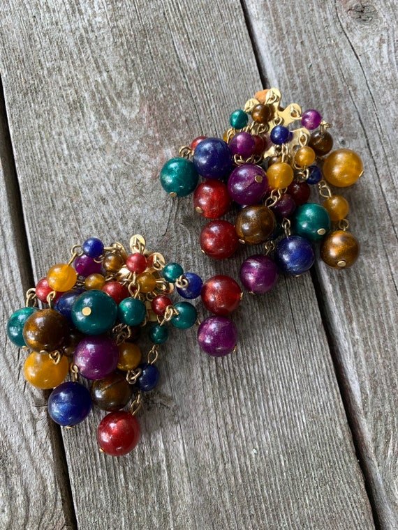 Huge Cha Cha Pom Pom Waterfall Autumn Rainbow Cluster Bead Statement Earrings, Fun Vintage Zoom Party Bling!