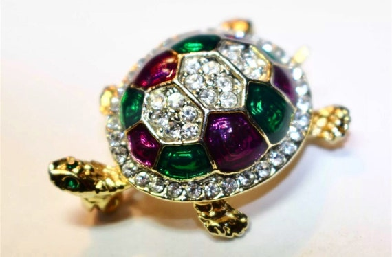 Vintage crystal bedazzled turtle brooch pin deep green purple & clear stones sparkling