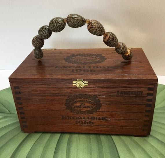 Vintage Wooden Cigar Box Purse Handbag Tote Carrier or decorative storage