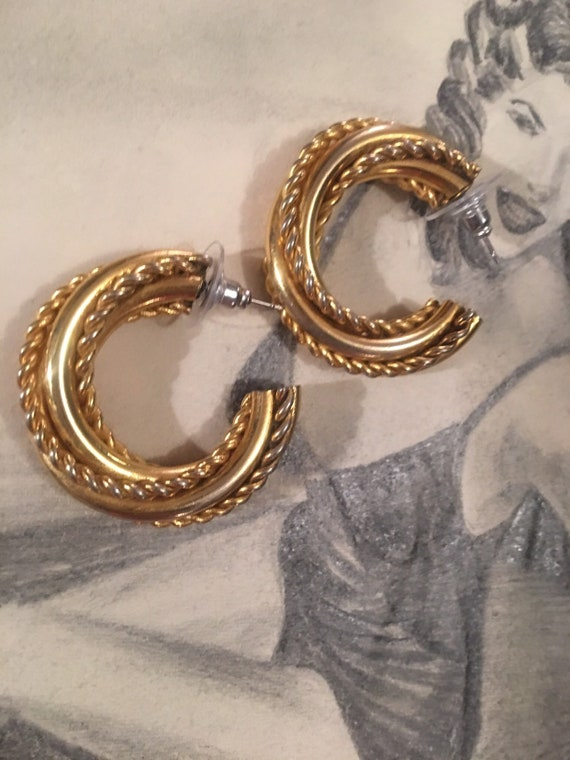 Awesome 80s Big Bold Matte Goldtone Triple Hoop & Coil Twists Glamour Statement Hoop Earrings