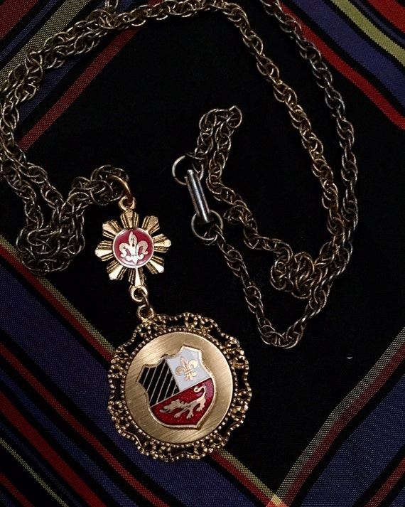 Vintage Enameled Code of Arms Crest Regal Preppy insignia Type of Medal Necklace Pendant